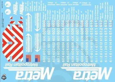 Metra METX F40C O Scale Decal Set