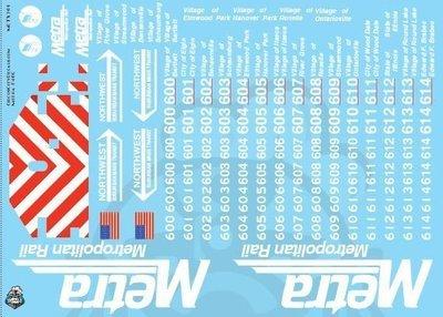 Metra METX F40C O Scale Decal Set