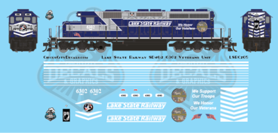 Lake State Railway SD40-2 Veterans Locomotive 6302 Decals HO Scale