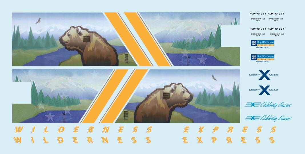 Alaska Railroad ARR Wilderness Express Dome N Decals Royal Caribbean Mckinley