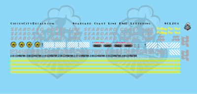 Seaboard Coast Line EMD Lettering HO Scale Decal Set