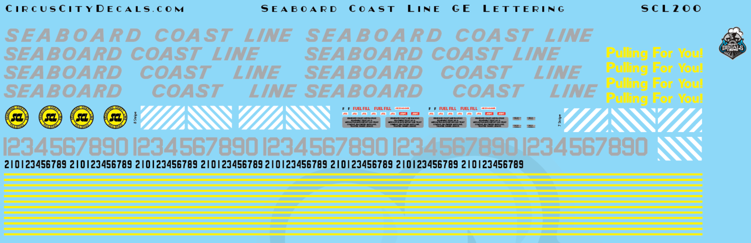 Seaboard Coast Line GE Lettering HO Scale Decal Set