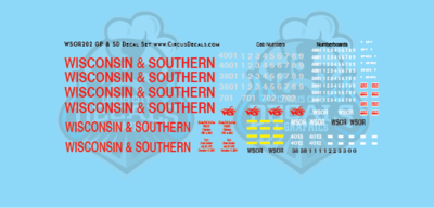 Wisconsin & Southern Railroad GP & SD Locomotive Decal Set WSOR