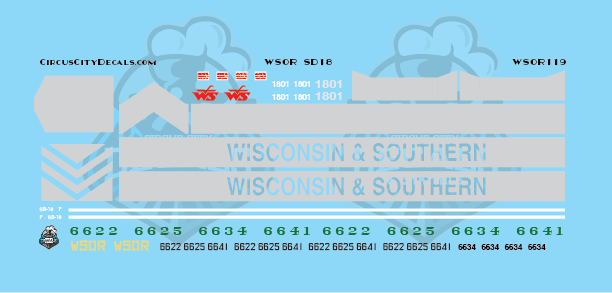 Wisconsin & Southern Railroad WSOR SD18 Locomotive Decal Set N Scale