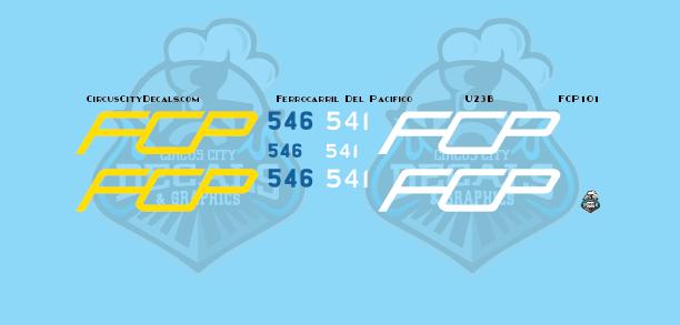 FCP U23B Ferrocarril Del Pacifico N scale Decal Set