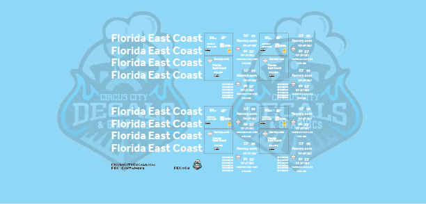 Florida East Coast FEC Container 53' N Scale Decal Set
