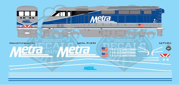 Metra METX F59PHI Amtrak Repaint HO Scale Decal Set