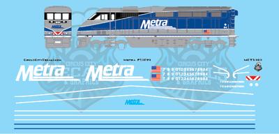 Metra METX F59PHI Amtrak Repaint N Scale Decal Set