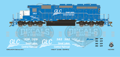 Great Lakes Central SD40-2 382 329 N Scale decals