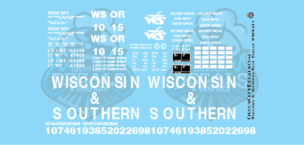 Wisconsin & Southern Railroad Blue Boxcar Decal Set WSOR G Scale