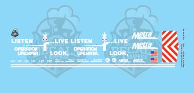 Metra METX F40PH #147 Operation Lifesaver HO Scale Decal Set