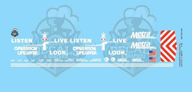 Metra METX F40PH #147 Operation Lifesaver N Scale Decal Set