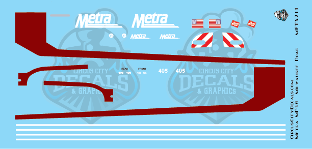 Metra METX Milwaukee Road MP36 #405 HO Scale Decal Set