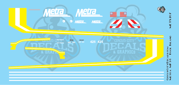 Metra METX Rock Island MP36 #425 HO Scale Decal Set