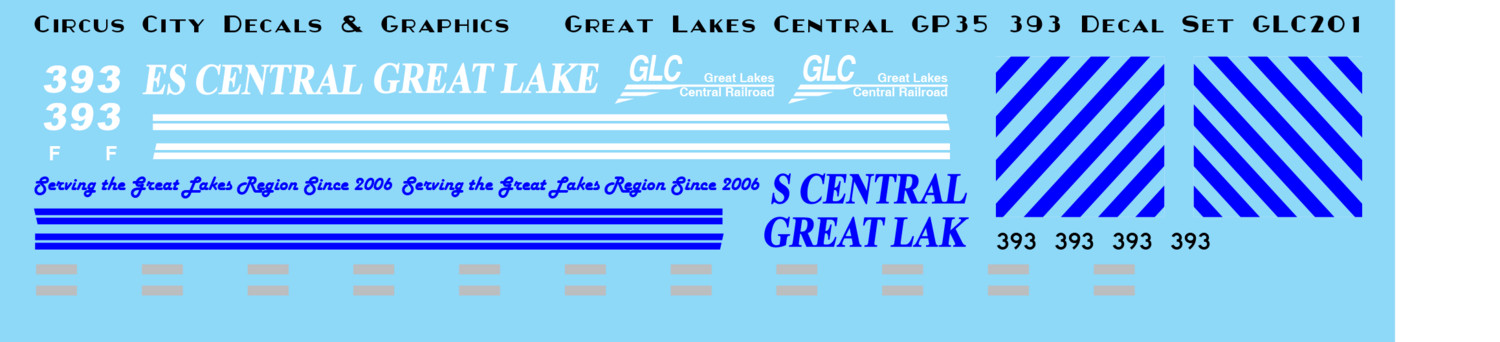 Great Lakes Central GP35 393 HO Scale decals