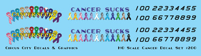 Cancer Sucks Decal Set HO Scale