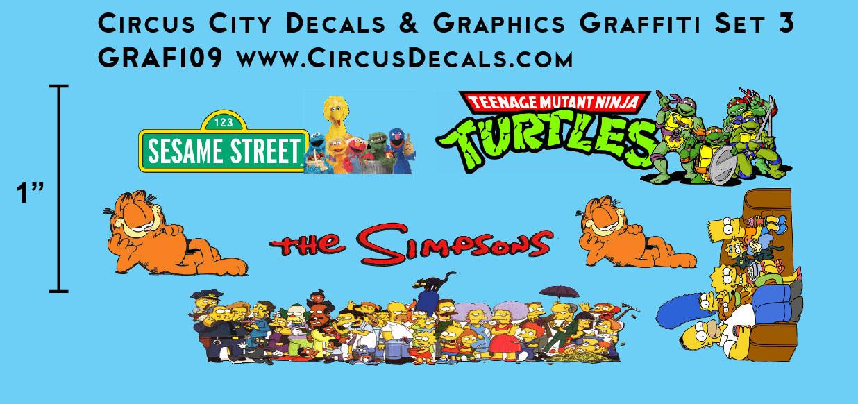 Cartoon Graffiti Decal Set 3 N Scale Simpsons, Ninja Turtles, Sesame Street, Garfield