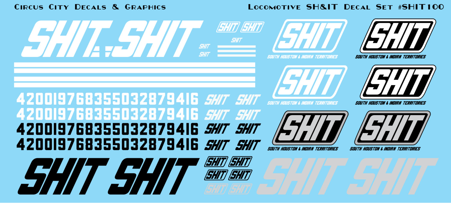 South Houston & Indian Territories SHIT Railroad Locomotive Decal Set N Scale