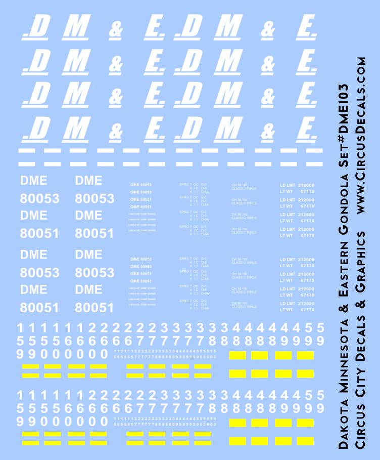 Dakota, Minnesota & Eastern Gondola Decals DM&E