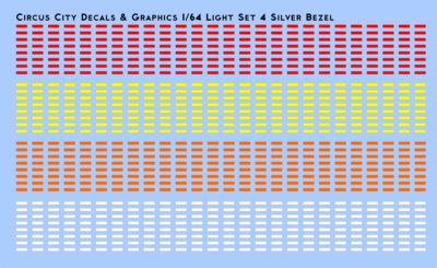 Vehicle Light Set 4 with Silver Bezels 1/64 Scale