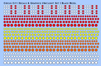 Vehicle Light Set 1 with Black Bezels 1/64 Scale