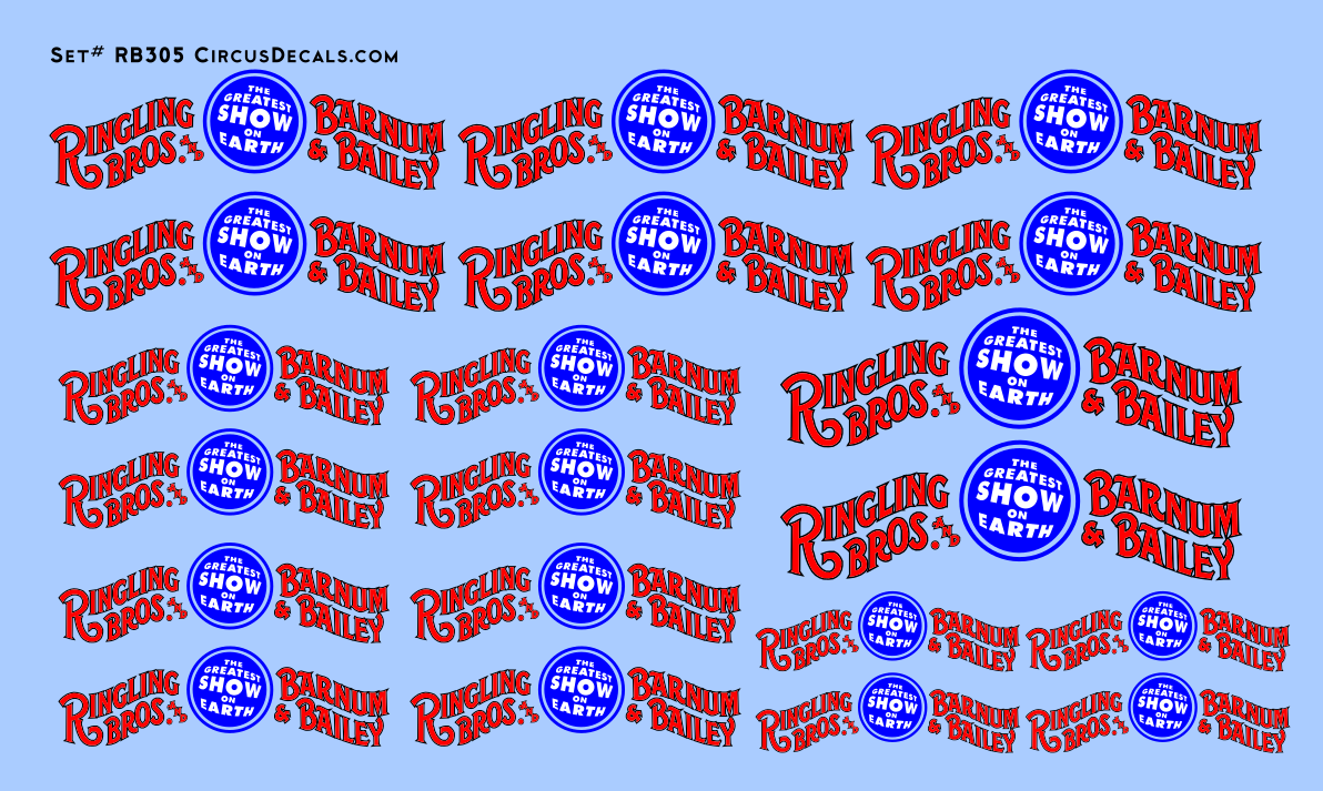 RB305 Ringling Bros. & Barnum Bailey RBBB Circus Wagon Banner Decals O Scale