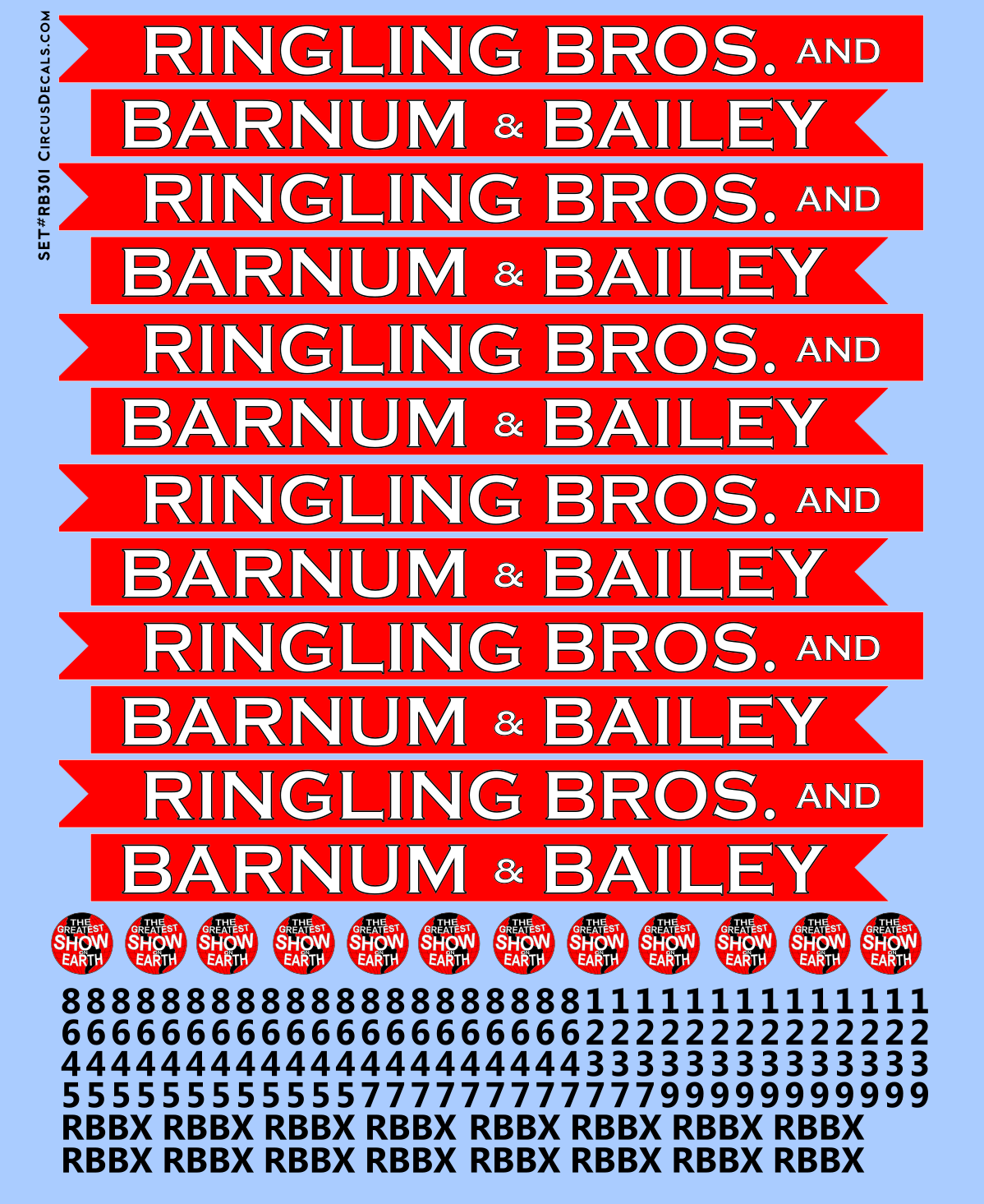 RB302 Ringling Bros. & Barnum Bailey Blue Unit RBBB Modern Circus Train Decals O Scale