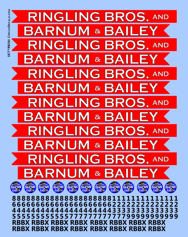 RB301 Ringling Bros. & Barnum Bailey Blue Unit RBBB Modern Circus Train Decals O Scale