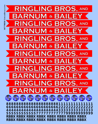 RB301 Ringling Bros. & Barnum Bailey Blue Unit RBBB Modern Circus Train Decals O Scale