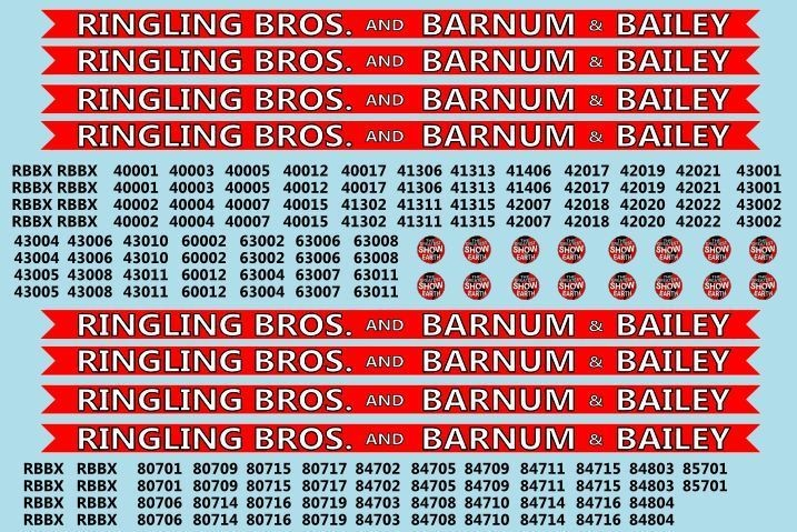 Ringling Bros. RBBB Circus Decals HO Scale Coaches & Flats Red Unit HO Scale