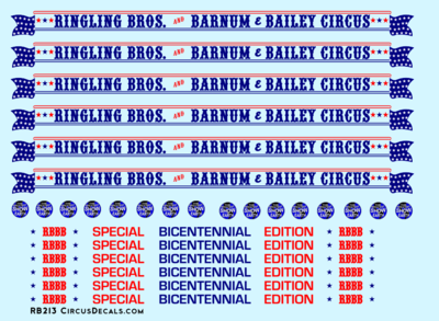 RBBB Circus Decals HO Flats /& Stock Cars Ringling Brothers RB209 Ringling Bros