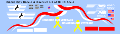 Norfolk Southern Veterans Unit 6920 SD60E Decals HO Scale NS