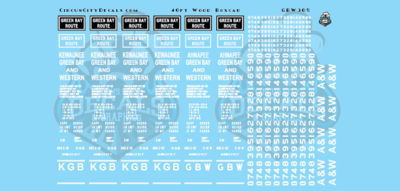 Green Bay & Western GBW 40' Wood Boxcar Car Data Decals O Scale