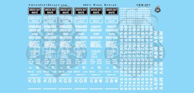 Green Bay & Western GBW 40' Wood Boxcar Car Data Decals O Scale