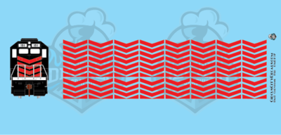 EMD Chevrons GP SD Red Style 3 HO Scale Decals