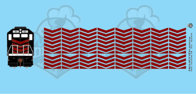 EMD Chevrons GP SD Dk Red Style 3 HO Scale Decals