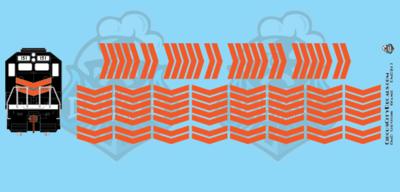 EMD Chevrons GP SD Orange Style 4 HO Scale Decals