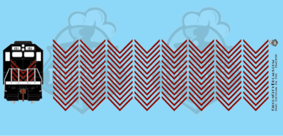 EMD Chevrons GP SD Dk Red Style 6 HO Scale Decals