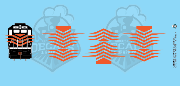 EMD Chevrons GP SD Orange Style 7 HO Scale Decals