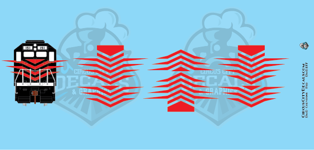 EMD Chevrons GP SD Red Style 7 HO Scale Decals