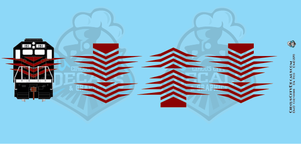 EMD Chevrons GP SD Dk Red Style 7 HO Scale Decals