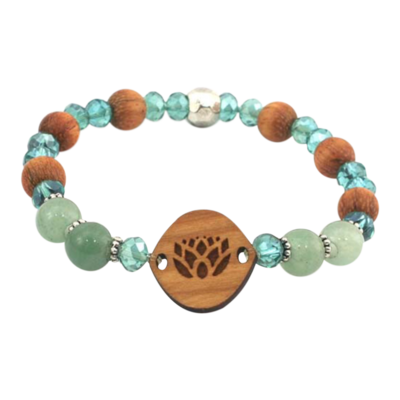 Essential Oil Bracelet | Small Lotus Flower | Aventurine