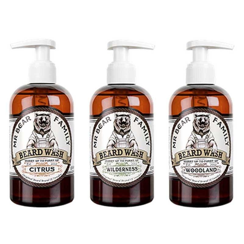 Mr Bear Family - Sapone liquido da barba gusto Wilderness (colline verdi) 250ml.
