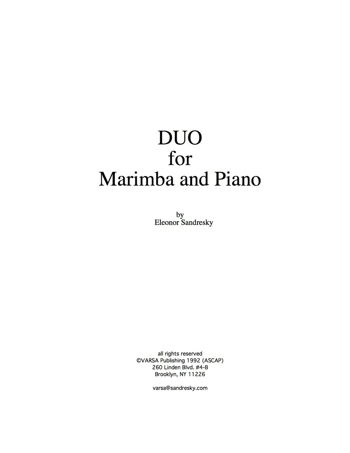 Duo for Marimba and Piano