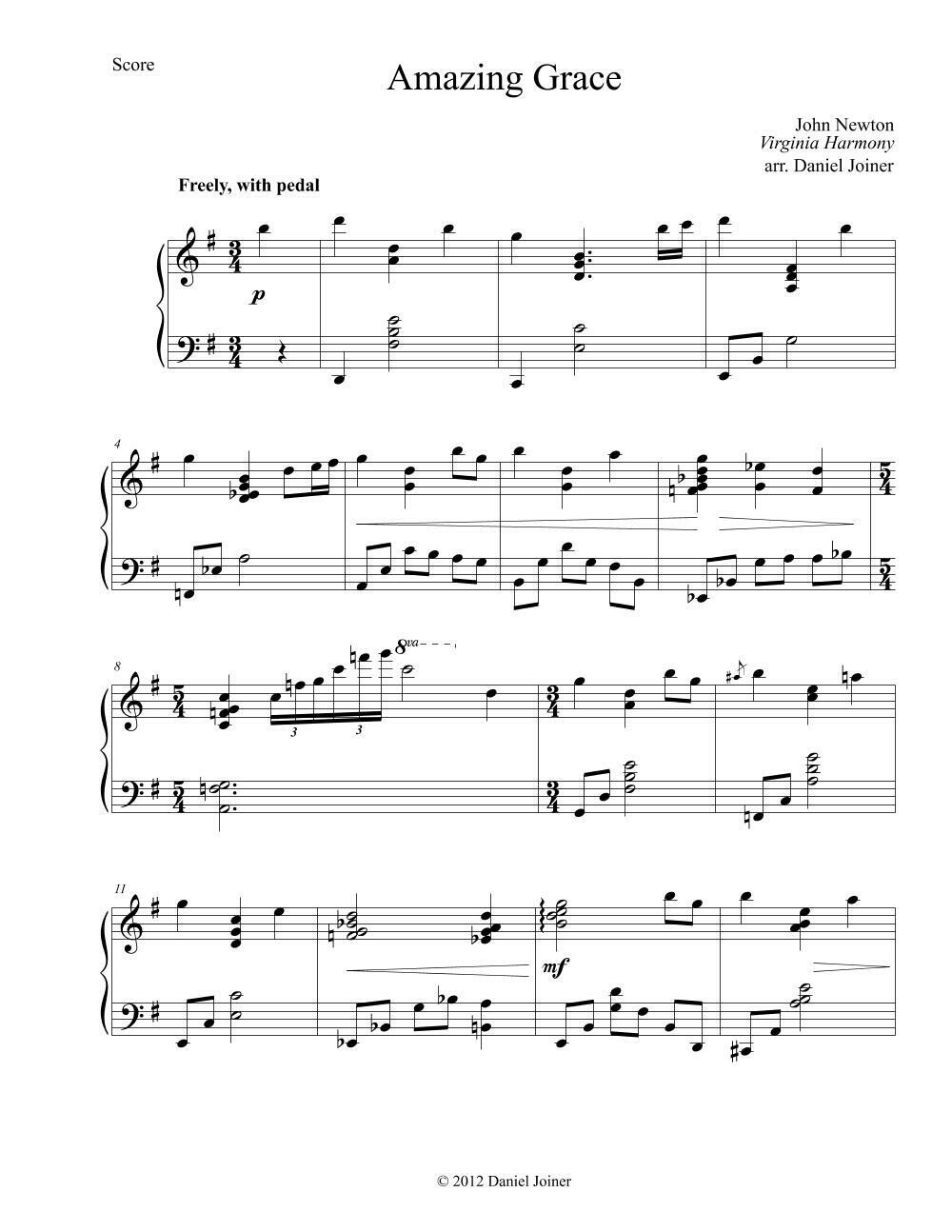Amazing Grace- Sheet Music Arrangement