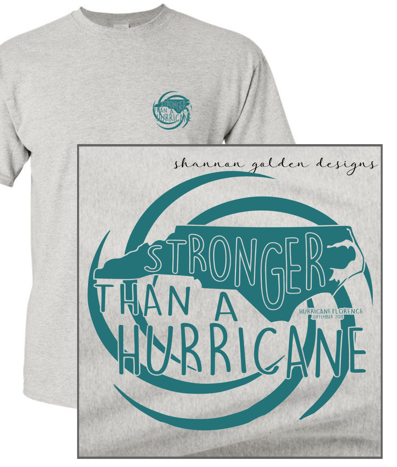 Gray Short Sleeve Hurricane Florence Fundraiser