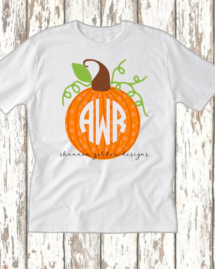 Fall Pumpkin Monogram Shirt