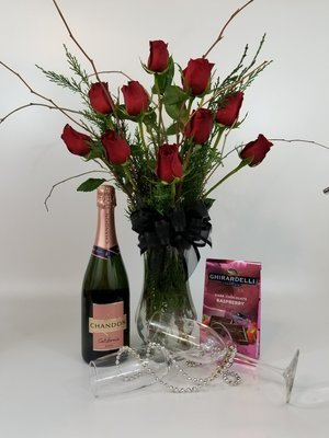 Roses with Rose Champagne and Chocolates