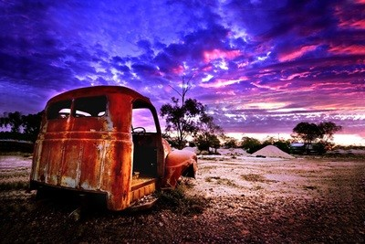 Postcard - Sunset over Lightning Ridge