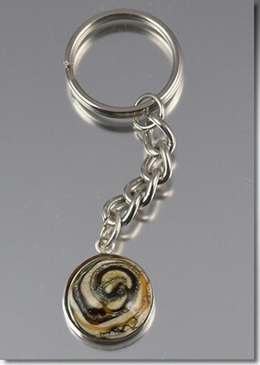 Hand blown glass with cremains key ring